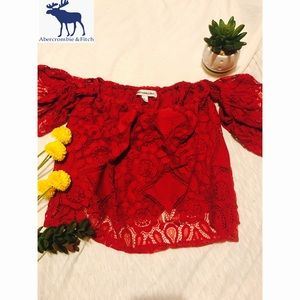 Red Lace Off the Shoulder Crop Top